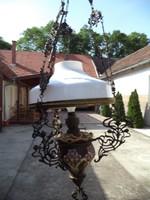 B14 Antik Szecessziós majolika lüszter lámpa