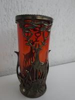 Antik vérpiros üvegbetétes fém szecis szarvasos dekoros váza