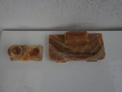 Hatalmas antik márvány kalamáris készlet - asztali tintatartó