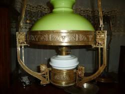 Hihetetlen ritka, meseszép, óriási méretű, eredeti szecessziós antik réz lüszter lámpa / csillár