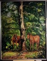 Magyar Ari - Pihenőben ( Bécsi Galéria címkével, 82 x 63, akril )