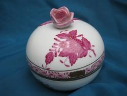 Régi, nagyméretű, herendi porcelán Apponyi mintás bonbonier / doboz