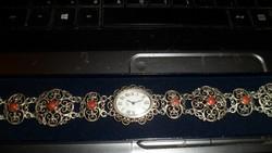 Antik ezüst óra / korall