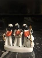 Antik ritka Wagner, Apel mini porcelán néger zenekar
