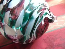 2 db Türkizzöld / rózsaszín márványos üveg gömb