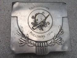 Íróasztalra is ! 1914 ezüstözött díszes fedlapos üvegdoboz I.világháború kora