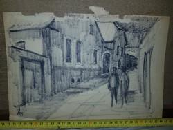 Szignós utcakép grafika