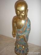 Antik Aranyozott bronz rekeszes eljárással is buddha szobor engóbe festéssel 4160 gr 45 cm-es