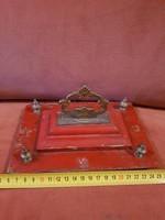 Fa doboztető (?), réz fogóval, 4 réz bojttal, antik, méret, súly jelezve