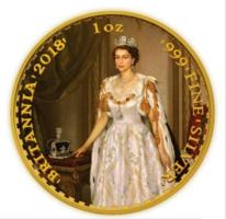 Nagy Britannia 1 Uncia Aranyozott Ezüst Érme, BUNC, 2 Font, 2018.  II. Erzsébet,