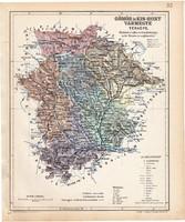 Gömör és Kis - Hont vármegye térkép 1904, megye, Magyarország, eredeti, Kogutowicz Manó, atlasz