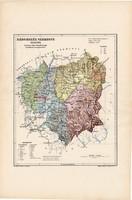 Háromszék vármegye térkép 1904, megye, Nagy - Magyarország, eredeti, Kogutowicz Manó, atlasz