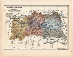 Liptó vármegye térkép 1904, megye, Nagy - Magyarország, eredeti, Kogutowicz Manó, atlasz
