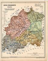 Árva vármegye térkép 1904, megye, Nagy - Magyarország, eredeti, Kogutowicz Manó, atlasz