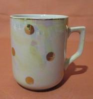 Ritka eozin mázas Zsolnay pöttyös bögre, csésze