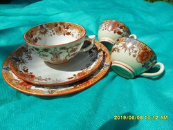 Sarreguemines keleti mintás francia fajansz  teás csésze 2 aljjal+ két csésze