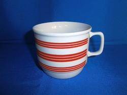 Régi, ritka Zsolnay porcelán piros csíkos csésze, bögre, hibátlan!