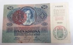 Nagyon szép 50 Korona 1914 Magyarország felülbélyegzéssel.