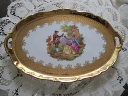 Antik kézzel festett aranyozott jelenetes tálca