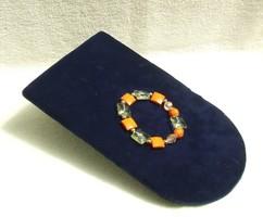 Bizsu ékszer Zöld -Kocka Narancs  karkötő