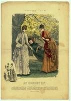 Különleges, egyedi,1887-es,Augusztus hónap, 29 x 41 cm.-es, színes, divatkép, lakása díszítéséhez.