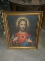 Szép nagyobb méretű jézus kép szentkép falikép szép keretben,üvegezve,retro,vintage,paraszti,népi