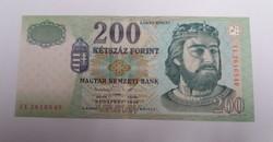 200 Forint 1998 FE, hajtott bankjegy.