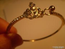 Koronás swarovski kristályos GOLD FILLED karkötő
