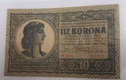 10 Korona 1919 ritka 18 x 3 mm sorszámmal.