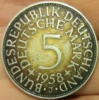 Német 5 DM 1958  J = Hamburg  AG Ezüst  11,2 gramm RITKA !   Bundesrepublik Deutschland 5 DM 1958 J