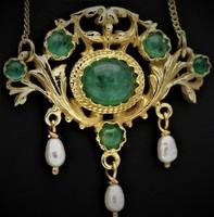 Smaragd és gyöngy antik 14 kr.arany collier