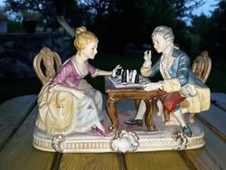 Sakkozó  porcelan  pár