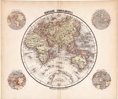 Világtérkép, Keleti - félteke térkép 1871, német nyelvű, eredeti, 23 x 28 cm, Afrika, Európa, Ázsia