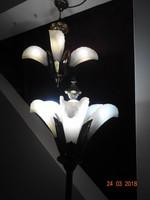 Csodás réz csillár vastag márványszerű öntött üvegekkel