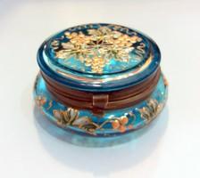 Antik festett üveg doboz réz szerelékkel