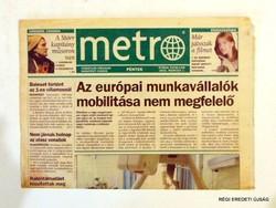 2002 március 1  /  metro  /  SZÜLETÉSNAPRA RÉGI EREDETI ÚJSÁG Szs.:  5544