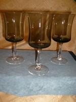 6 -Db,-os csiszolt szárú hibátlan boros pezsgős szett kétszínű
