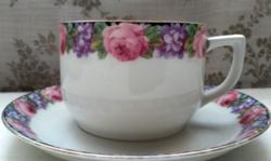 Alt wien rózsás ibolyás teás csésze aljjal