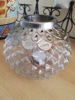 Régi  üveg gömb mécsestartó