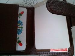 Bontatlan pakli skat kártya (német típusú magyar kártya) bőr tokban, jegyzettömbbel 1960-90