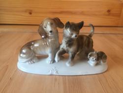 Kutya macska cica barátság német porcelán