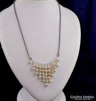Gyöngyös ezüst nyakék