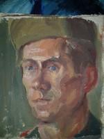 Két kis portré, katonák, olaj, vászon, nívósak...