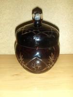 Mélybordó metszett üveg cukortartó (2/K)