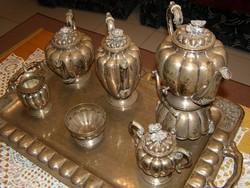 Sterling ezüst teás- / kávés készlet tálcával (6 db-os)