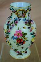 Herendi antik plasztikus virágrátétes váza a 19. századból