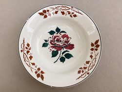 Antik fali tányér Wilhelmsburgi fajansz rózsa rózsatövises mintás