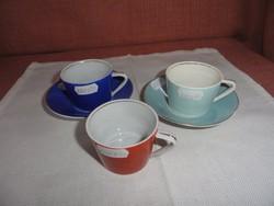 Kőbányai  porcelán, kávés pohár, színes.alátéttel