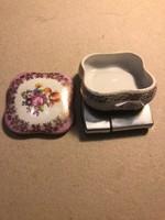 Régi, kicsi, német porcelán cukorkatartó