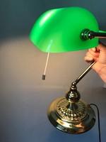 Zöld üveg burás bank sztali lámpa